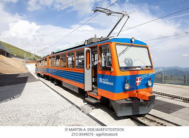 Train at the summit station of the Monte Generoso (Generoso Mount) railway. Ticino, Switzerland