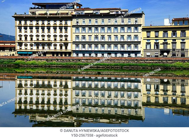 Europe, Italy, Tuscany, Florence, hotels along bank of famous Arno river, Westin Excelsior Hotel on left and Albergo Italia on right, close to Piazza Ognissanti