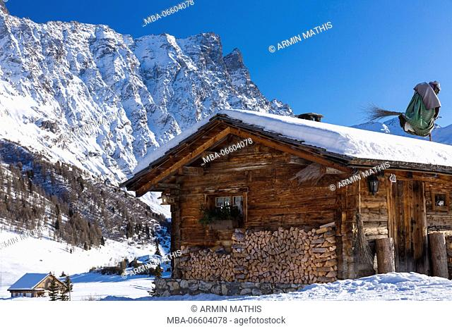Winter close Radons, Savognin, in the Swiss canton of Grisons