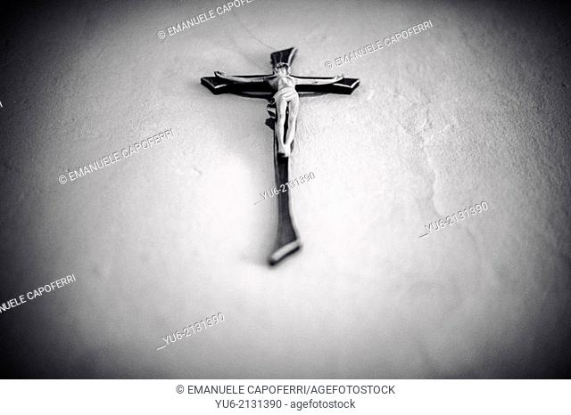 Crucifix hanging on the wall