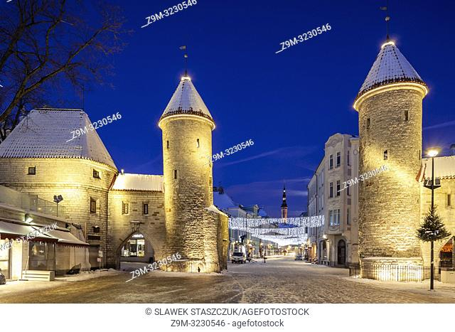 Winter dawn at the city gates in Tallinn old town, Estonia