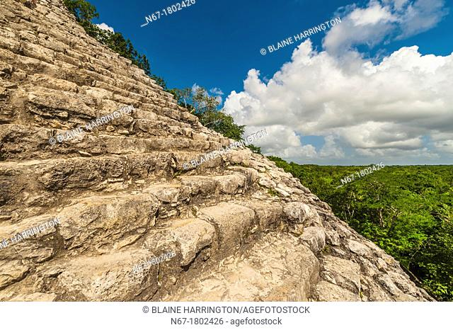 Nohoch Muul Temple, the tallest pyramid at the Coba archaeological site of Pre-Colombian Maya civilization, in the jungle near Riviera Maya, Mexico