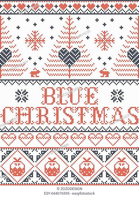 Christmas pattern Blue Christmas carol vector seamless pattern inspired by Nordic culture festive winter in cross stitch with heart, snowflake, snow