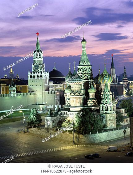 10522873, lighting, churches, Kremlin, Moscow, at night, red place, Russia, Saint Basil