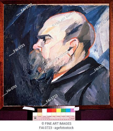 Portrait of the Poet Paul Verlaine (1844-1896). Goncharova, Natalia Sergeevna (1881-1962). Oil on canvas. Russian avant-garde. c. 1909