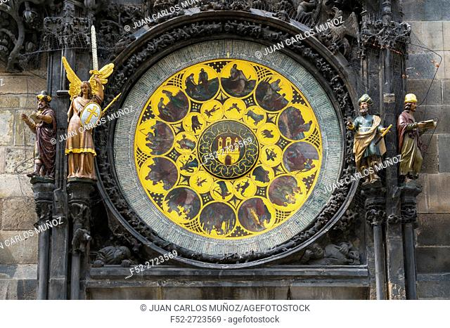 Medieval Astronomical Clock, Old Town Hall, Old Town Square, Prague, Czech Republic, Europe