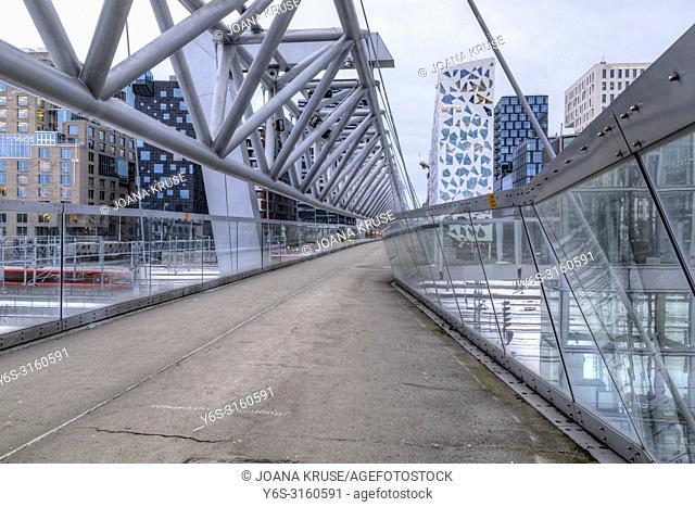 Oslo, Barcode, Akrobaten Bridge, Norway, Europe