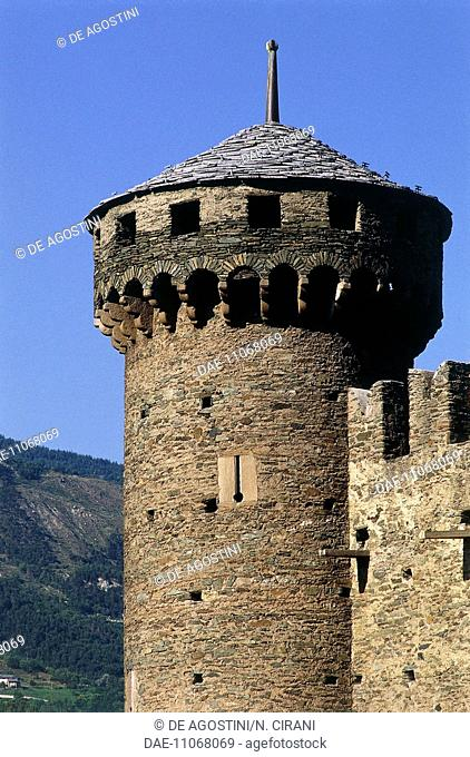 Perimeter tower, Fenis castle, Fenis, Aosta Valley, Italy, 14th-15th century. Detail