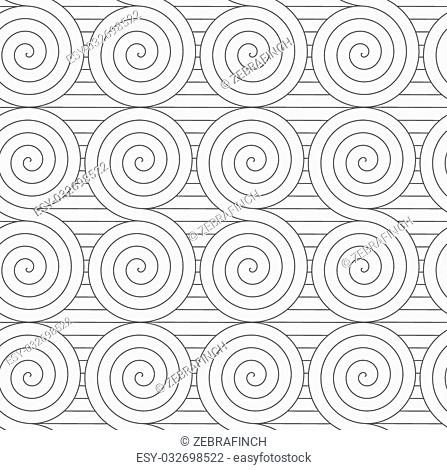 Monochrome abstract geometrical pattern. Modern gray seamless background. Flat simple design.Gray touching Archimedean spirals on continues lines
