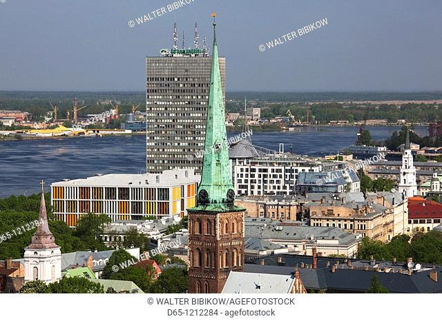 Latvia, Riga, Old Riga, Vecriga, elevated town view from St  Peter's Lutheran Church