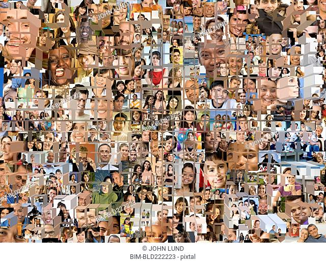 Grid in montage of faces