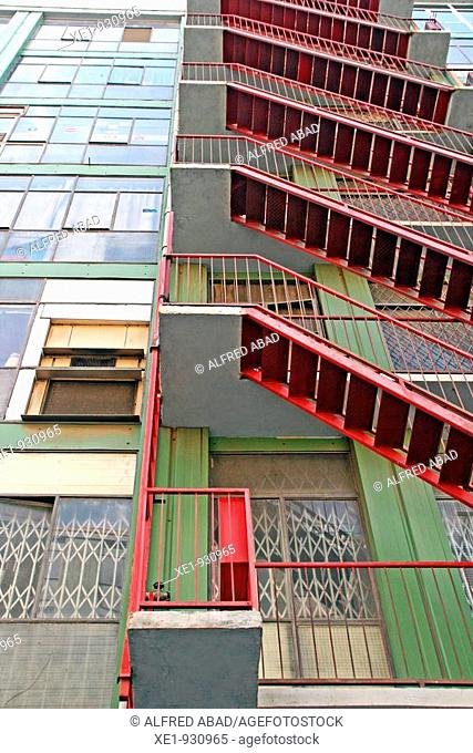 Emergency staircase from an industrial building, Barcelona, Catalonia, Spain