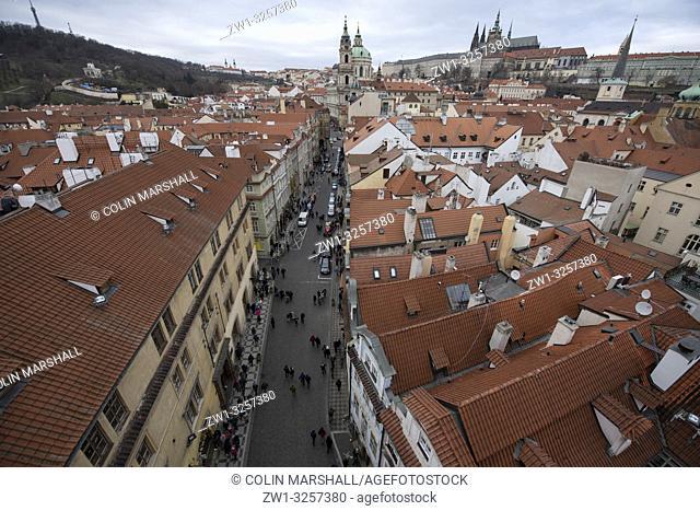 View of St Nicholas Church, Prague Castle and St Vitus Cathedral from Lesser Town Bridge Tower, Charles Bridge, Prague, Czech Republic