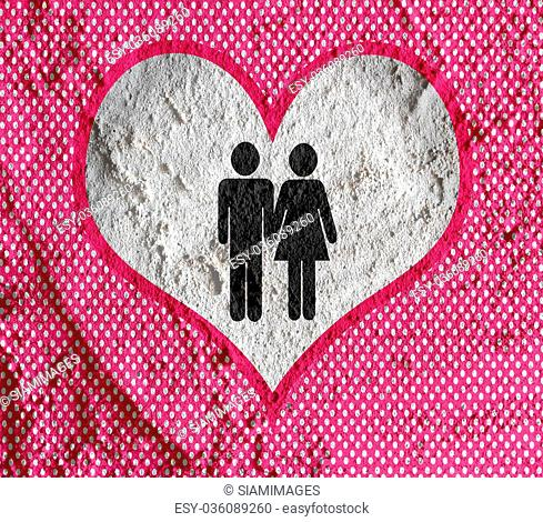Pictogram Man Woman Sign icons on Cement wall texture background design