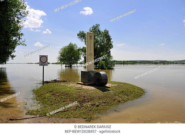Water level sign in Korzeniewo, Pomeranian Voivodeship, Poland