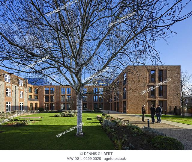New building wrapping around courtyard garden - winter view. Newnham College, Cambridge, Cambridge, United Kingdom. Architect: Walters and Cohen Ltd, 2018