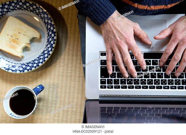 Man's hands using laptop and toast
