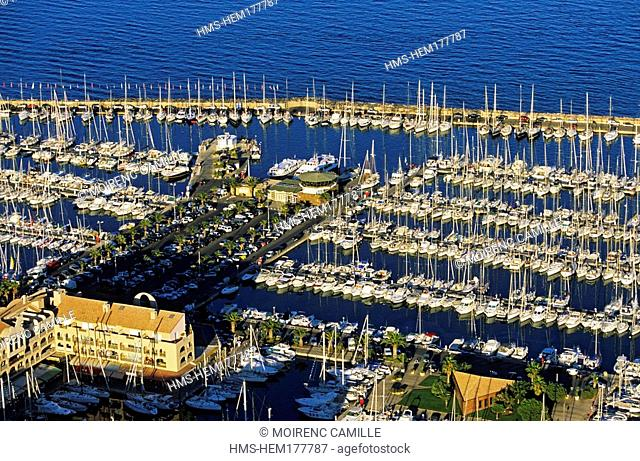 France, Var, Hyeres, harbour aerial view