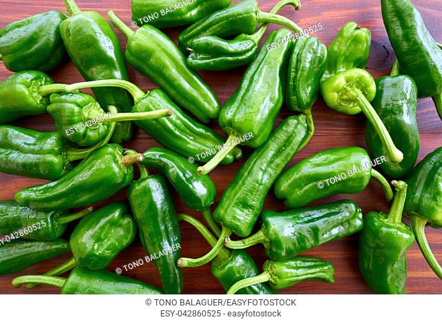 Padron peppers green on a brown wooden table