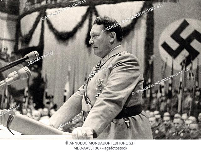 Hermann Goering in a meeting in the Sportpalast. The marshal of the Reich Hermann Goering at the microphone on the stage of the Sportpalast in Berlin