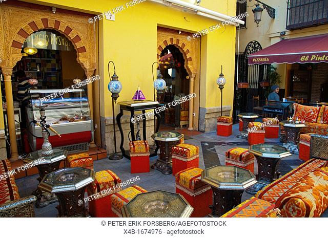 Arabian theme cafe restaurant along Call Granada street centro historico the old town Malaga Andalusia Spain Europe