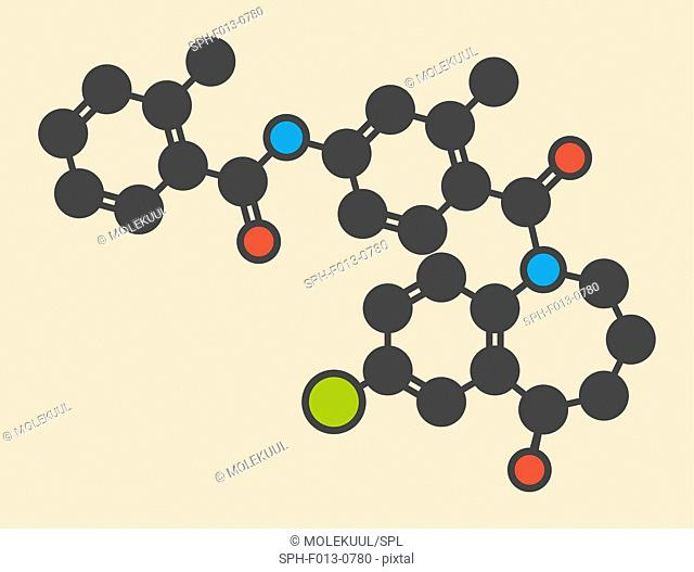 Tolvaptan hyponatremia (low blood sodium level) drug molecule. Stylized skeletal formula (chemical structure). Atoms are shown as color-coded circles: hydrogen...