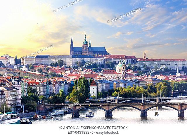 Prague city view with Manes bridge and Lesser Town with Prague castle on the background