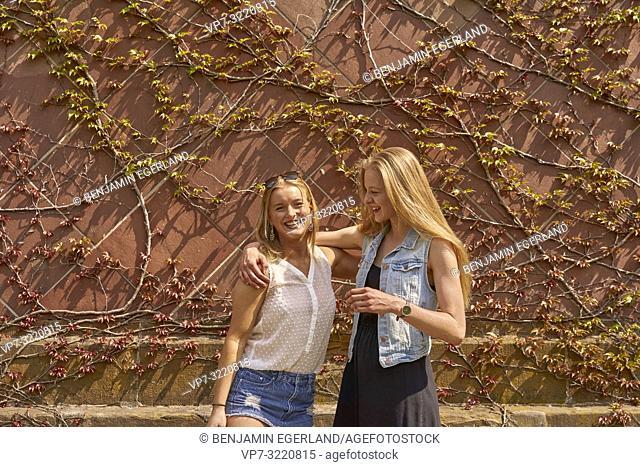 two women, friends, in Munich, Germany