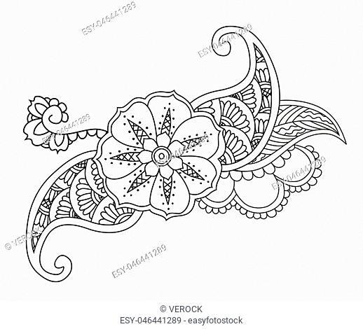 Mendie floral tattoo design on white background. Vector illustration