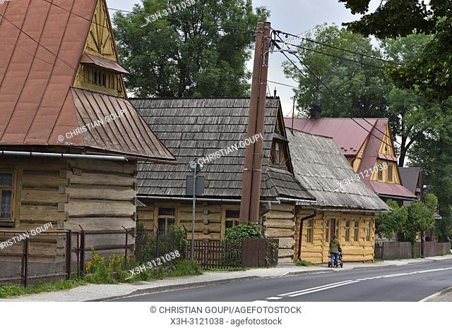 Wooden houses alongside the main street of the village of Chocholow, Podhale region, Malopolska Province (Lesser Poland), Poland, Central Europe