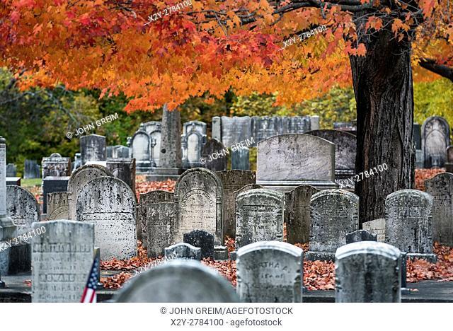 Autumn cemetery, Yarmouth, Maine, USA