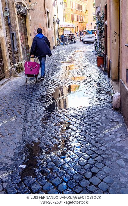 Street scene in Trastevere district. Rome, Italy