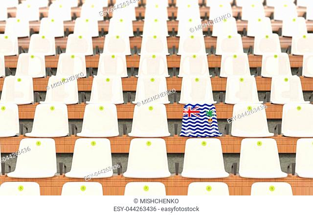 Stadium seat with flag of british indian ocean territory in a row of white chairs. 3D illustration