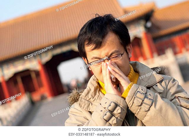 Man in forbidden city catch a cold