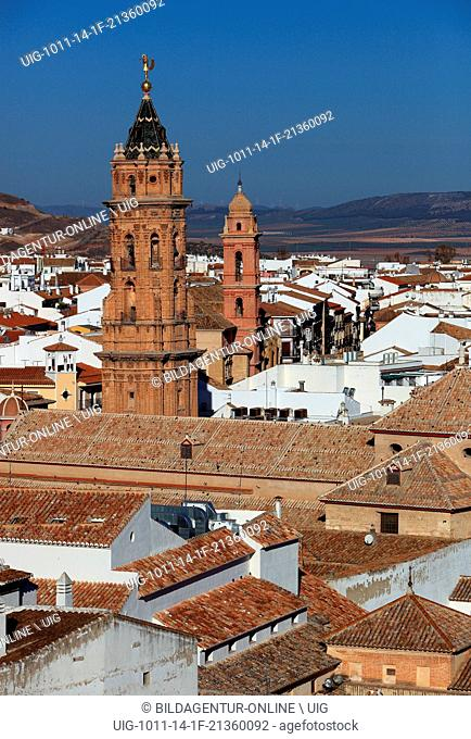 Antequera, Spain, Andalusia, view to the old city and the church San Sebastian