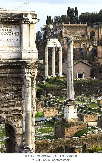 Arch of Septimius Severus with the Roman Forum ruins seen from Capitoline Hill. Rome. Lazio. Italy