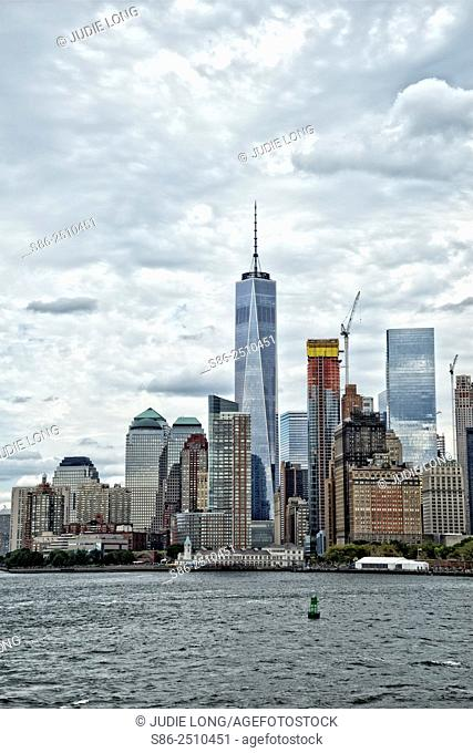 Lower Manhattan Financial District Skyline on a Cloudy Day. New York City