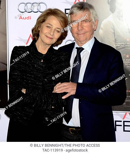 """Actress Charlotte Rampling and actor Tom Courtenay arrives at the AFI FEST 2015 presented by Audi Tribute Screening of """"""""45 Years"""""""" at the TCL Chinese Theatre..."""