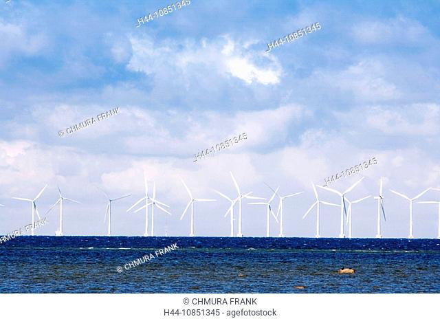 10851345, Sweden, Malmö, Windmills, Sea, Alternati