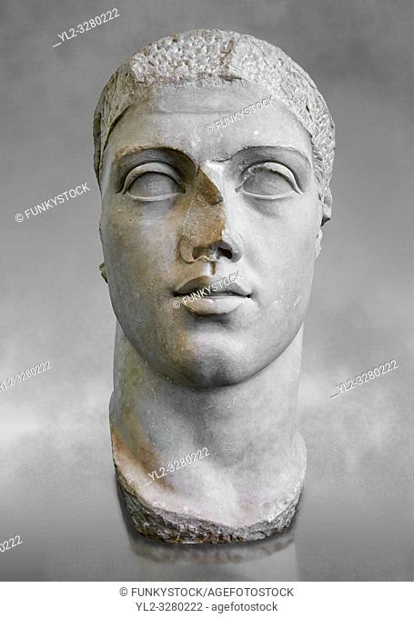 Roman sculpture bust of Alexander Severus made between 222 and 235 AD and excavated from Ostia. The National Roman Museum, Rome, Italy