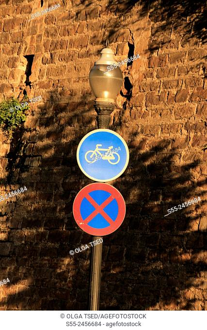 Bicycle lane sign and parking prohibited sign, Barcelona, Catalonia, Spain
