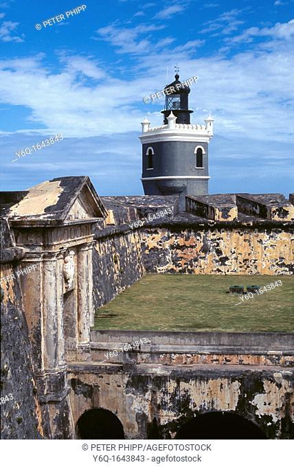 Lighthouse at 'El Morro' Castle Old San Juan Peurto Rico USA