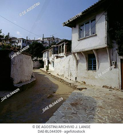 Traditional houses in a street in Xanthi, Eastern Macedonia and Thrace, Greece