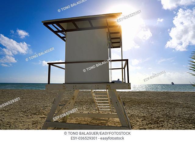 Playa del Carmen beach baywatch tower in Riviera Maya Cancun Mexico