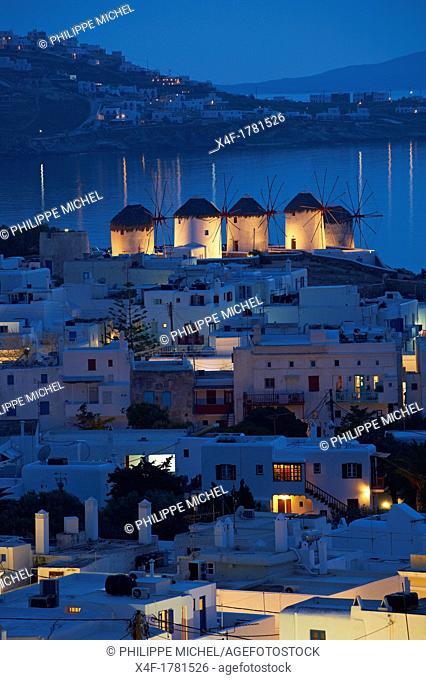 Greece, Cyclades, Mykonos island, Chora, Mykonos town, windmills Kato Mili