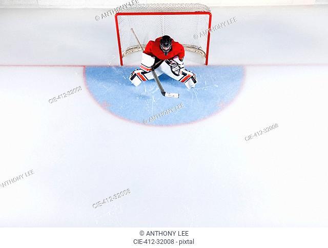 Hockey goalie in red uniform protecting goal net