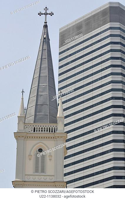 Singapore: skyscraper and former Convent of the Holy Infant Jesus's belltower, in Victoria Street