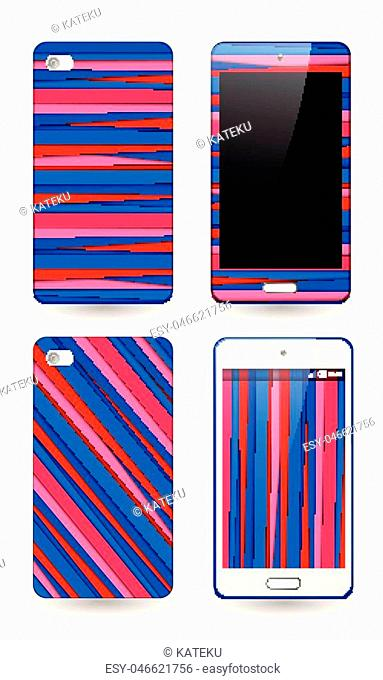 Template background and cover for smartphone with bright red and blue stripes print