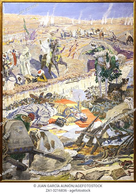 Rif War scene. Defeat of Spanish troops at Igueriben site July 1921, painted by Antonio Munoz Legrain in 1924 at Malaga Museum, Spain