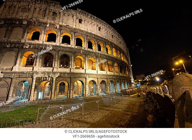 The Colosseum by night, Rome, Lazio district, Italy
